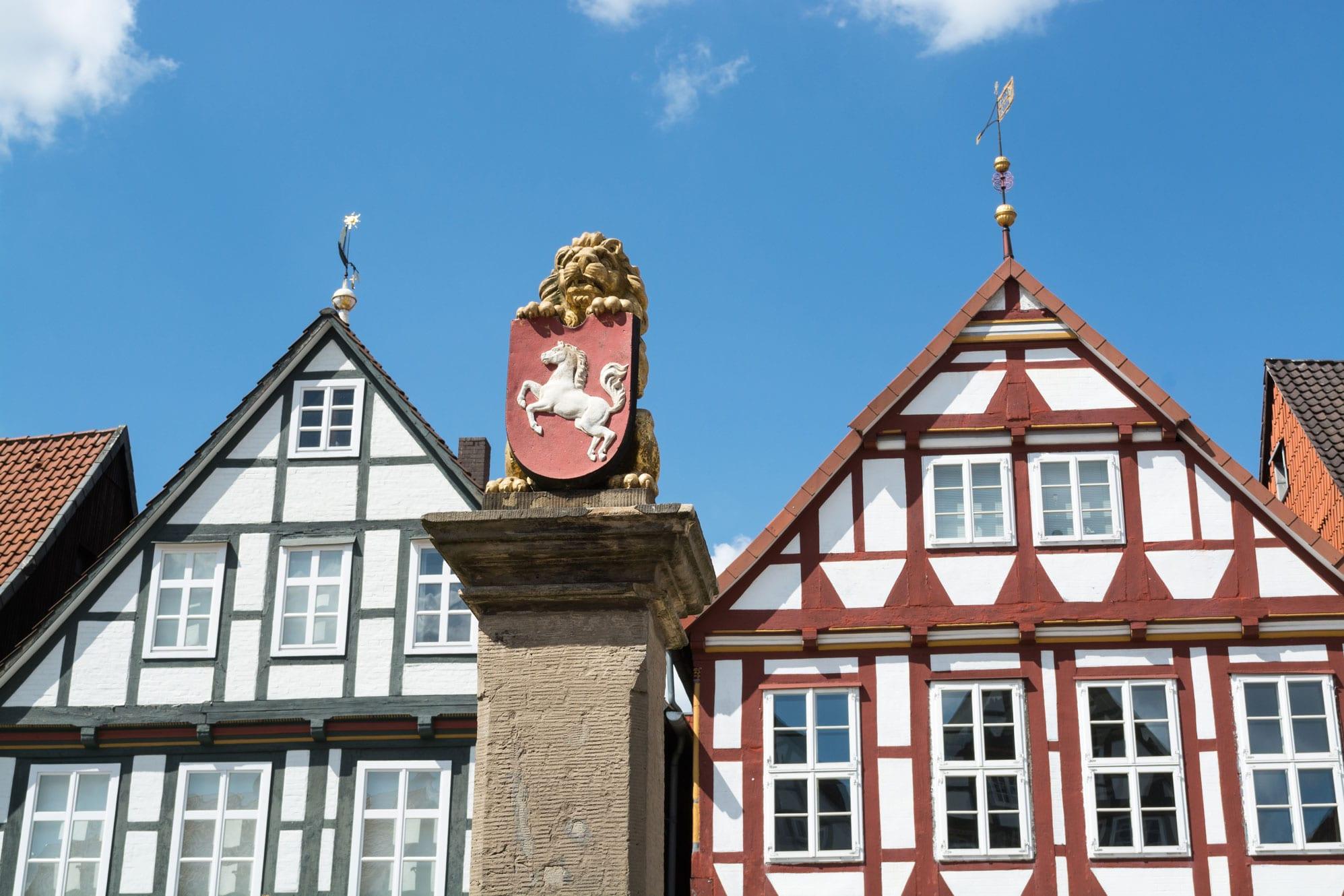 Ansicht auf Fachwerkhäuser in Celle