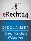 Disclaimer Siegel eRecht24 für rechtssichere Webseiten