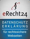 Datenschutzerklaerung Siegel eRecht24 für rechtssichere Webseiten